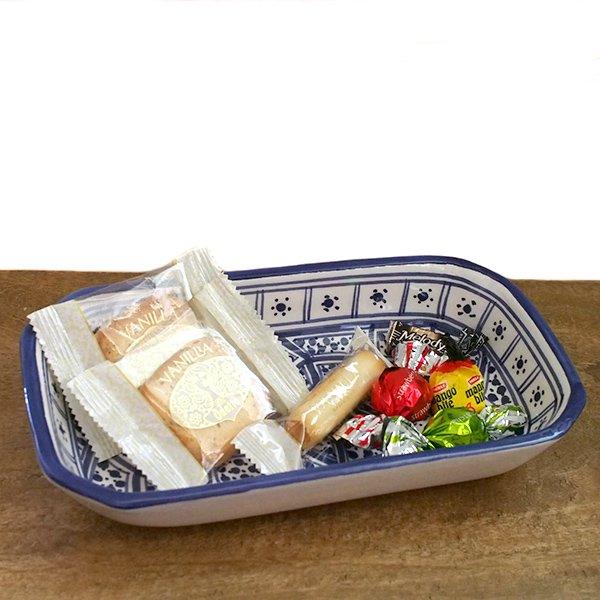チュニジア SLAMA製 手描き 皿 長方形(ブルー 12.5×23.5)【画像5】