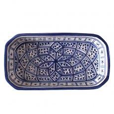 モロッコ・チュニジア 雑貨 チュニジア SLAMA製 手描き 皿 長方形(ブルー 12.5×23.5)
