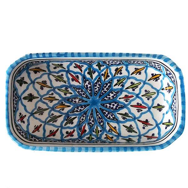 チュニジア SLAMA製 手描き 皿 長方形(ターコイズ 12.5×23.5)