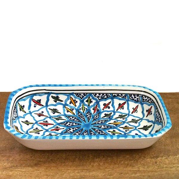 チュニジア SLAMA製 手描き 皿 長方形(ターコイズ 12.5×23.5)【画像2】