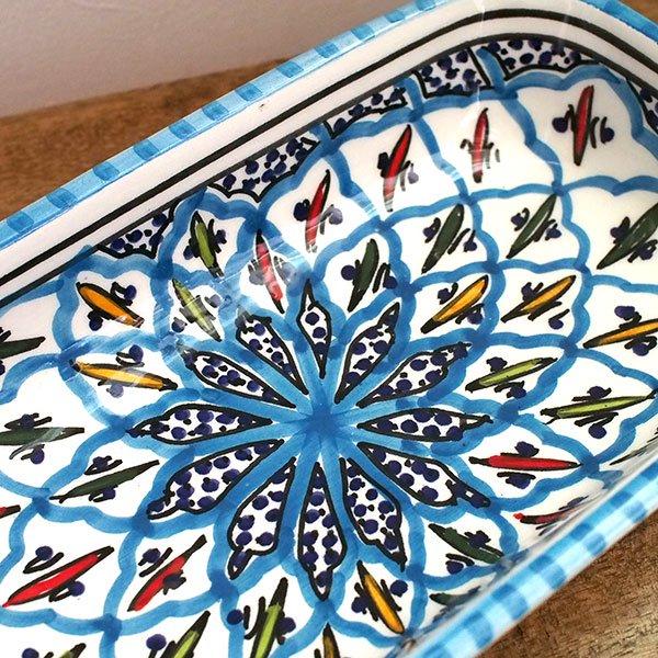 チュニジア SLAMA製 手描き 皿 長方形(ターコイズ 12.5×23.5)【画像3】