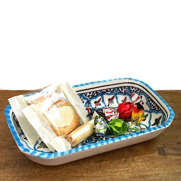 チュニジア SLAMA製 手描き 皿 長方形(ターコイズ 12.5×23.5)【画像5】