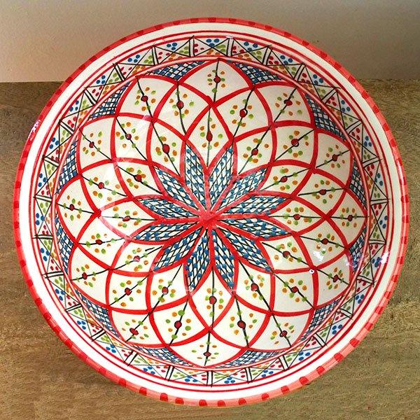 チュニジア SLAMA製 手描き ボウル(レッド 25cm)【画像2】