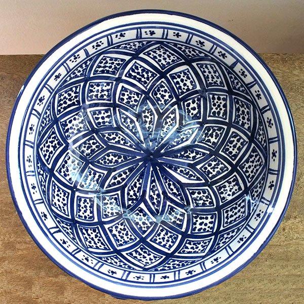 チュニジア SLAMA製 手描き ボウル(ブルー 25cm)【画像2】