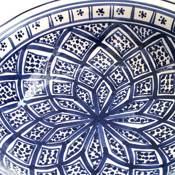 チュニジア SLAMA製 手描き ボウル(ブルー 25cm)【画像3】