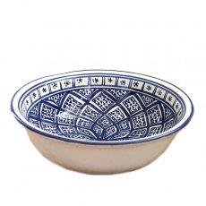 チュニジア SLAMA製 手描き ボウル(ブルー 25cm)