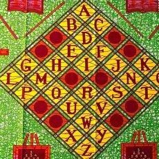 ユニークな柄 アフリカン プリント布 パーニュ 115×90 カットオフ(アルファベット)