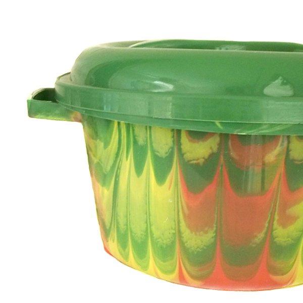 セネガル プラスチック蓋付きの桶(グリーン)【画像2】