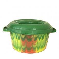 セネガル プラスチック蓋付きの桶(直径 30cm グリーン)