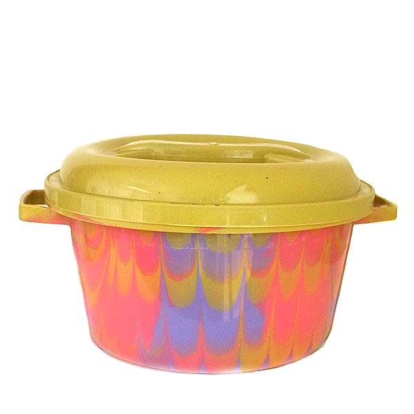 セネガル プラスチック蓋付きの桶(直径 30cm ピンク×パープル)