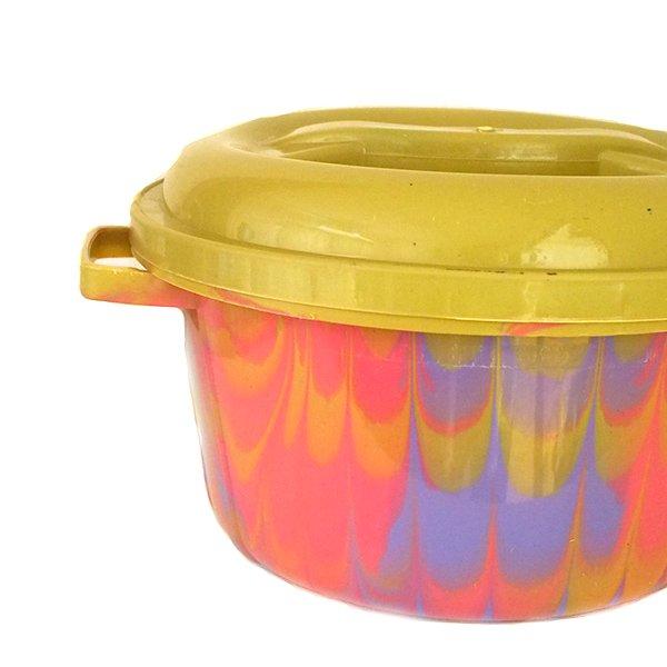 セネガル プラスチック蓋付きの桶(直径 30cm ピンク×パープル)【画像2】
