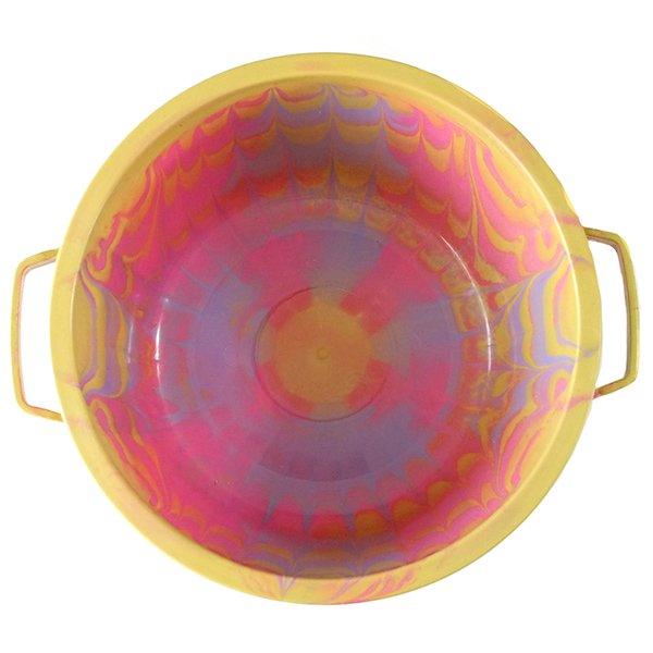 セネガル プラスチック蓋付きの桶(直径 30cm ピンク×パープル)【画像4】
