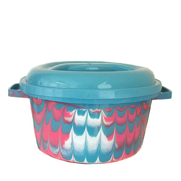セネガル プラスチック蓋付きの桶(ブルー)