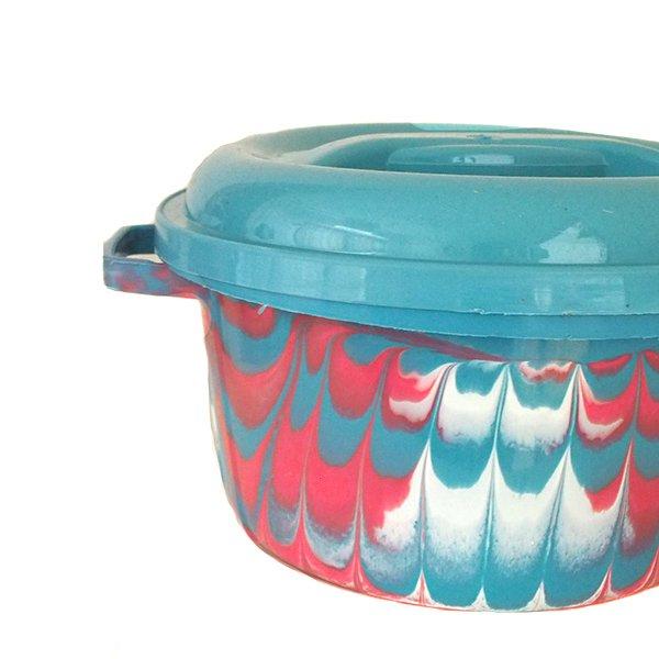 セネガル プラスチック蓋付きの桶(ブルー)【画像2】