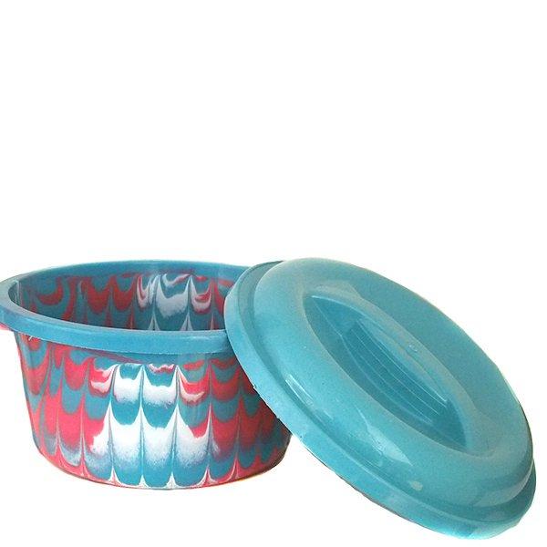 セネガル プラスチック蓋付きの桶(ブルー)【画像4】