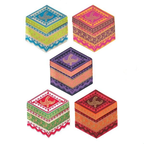 インド  chimanlals メッセージカード(ペイズリーとトリ B 六角形 封筒なし)