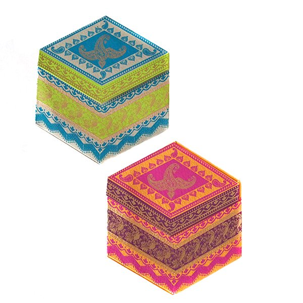 インド  chimanlals メッセージカード(ペイズリーとトリ B 六角形 封筒なし)【画像2】