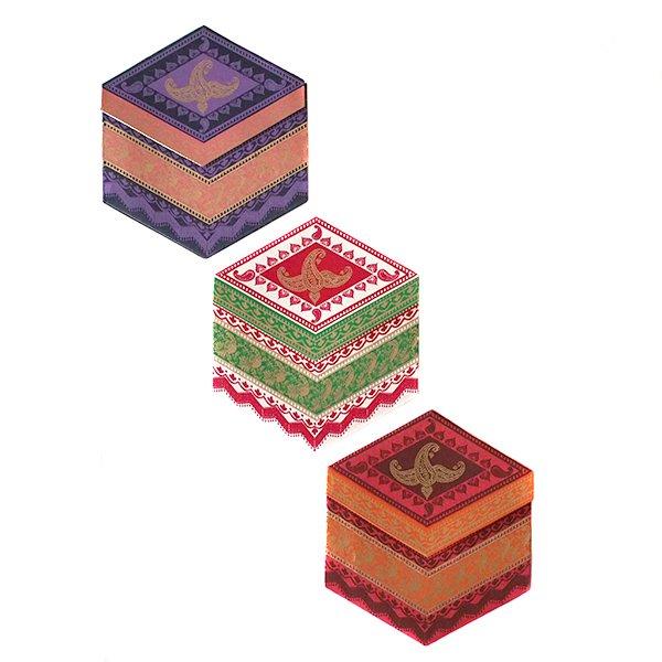インド  chimanlals メッセージカード(ペイズリーとトリ B 六角形 封筒なし)【画像3】