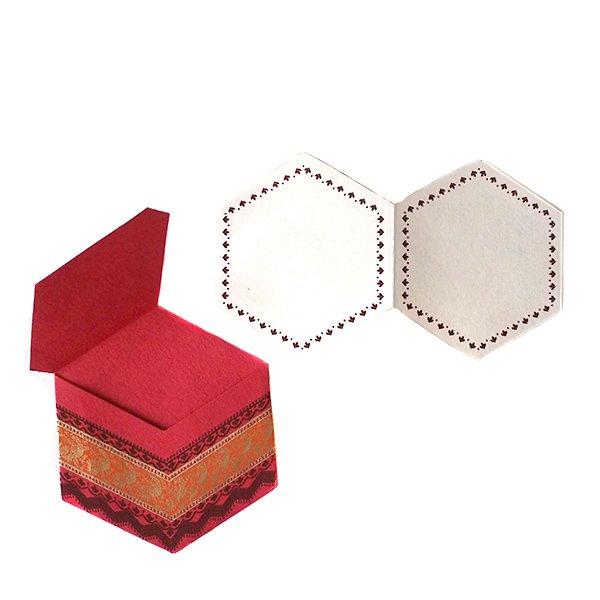 インド  chimanlals メッセージカード(ペイズリーとトリ B 六角形 封筒なし)【画像4】