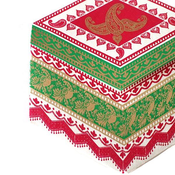 インド  chimanlals メッセージカード(ペイズリーとトリ B 六角形 封筒なし)【画像5】