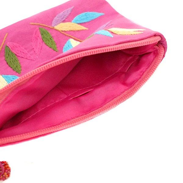 ベトナム 刺繍ポーチ(シルク 蝶々と葉っぱ チャックビーズ付き 4色)【画像7】