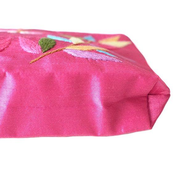 ベトナム 刺繍ポーチ(シルク 蝶々と葉っぱ チャックビーズ付き 4色)【画像8】