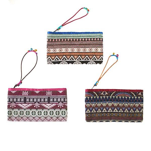 ベトナム ゴブラン織り風 ビーズ付き ポーチ