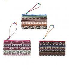 茶・ブラウン 雑貨  ベトナム ゴブラン織り風 ビーズ付き ポーチ(11×19cm)