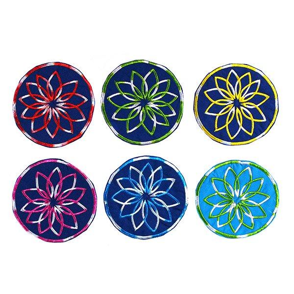 ベトナム 花 刺繍 コースター(ネイビー)