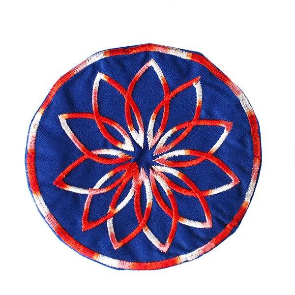 ベトナム 花 刺繍 コースター(ネイビー)【画像2】
