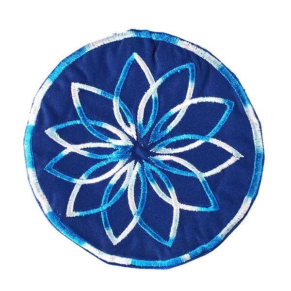 ベトナム 花 刺繍 コースター(ネイビー)【画像6】