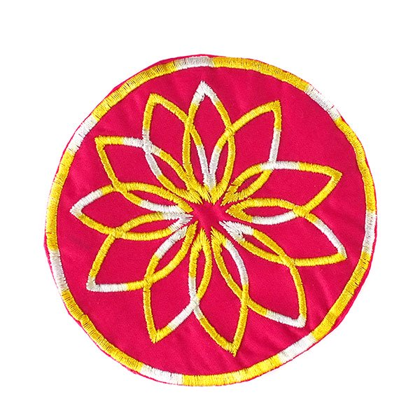 ベトナム 刺繍コースター(ピンク)