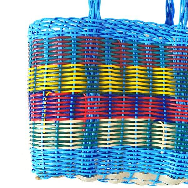 グアテマラ プラカゴ バッグ(縦18 横24 マチ11.5 ブルー)【画像2】