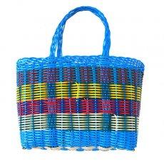 カゴバッグ / プラカゴ グアテマラ プラカゴ バッグ(縦18 横24 マチ11.5 ブルー)