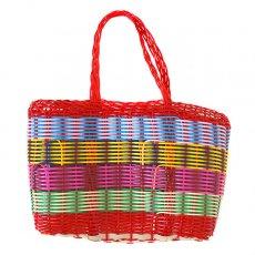 グアテマラ 雑貨 グアテマラ プラカゴ バッグ(縦18 横24 マチ11.5 レッド)