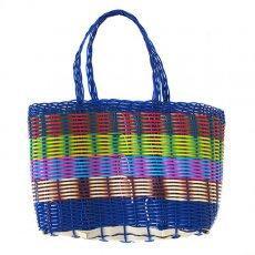 グアテマラ 雑貨 グアテマラ プラカゴ バッグ(縦18 横24 マチ11.5 ネイビー)