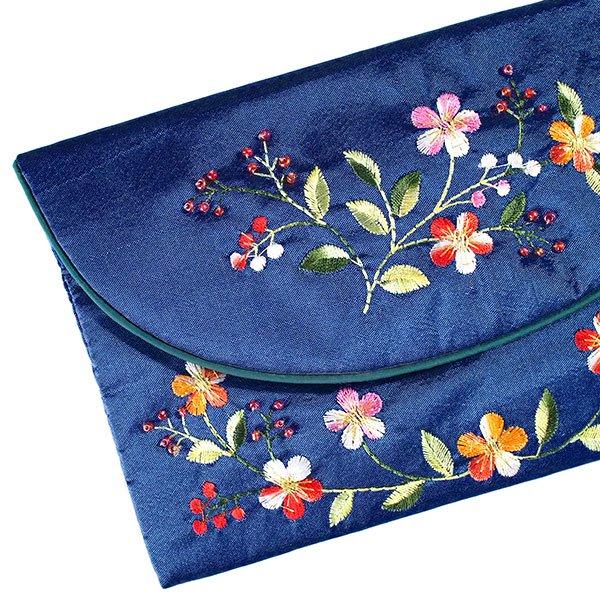 ベトナム 刺繍 シルクのお財布(お花A-2)【画像5】