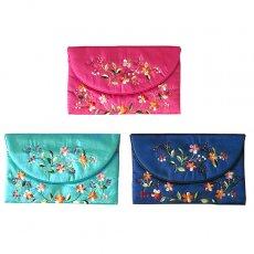 ベトナム 刺繍ポーチ 財布(シルク 花A-2)