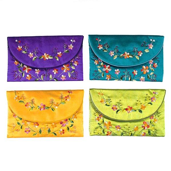 ベトナム 刺繍 シルクのお財布(お花B-2)