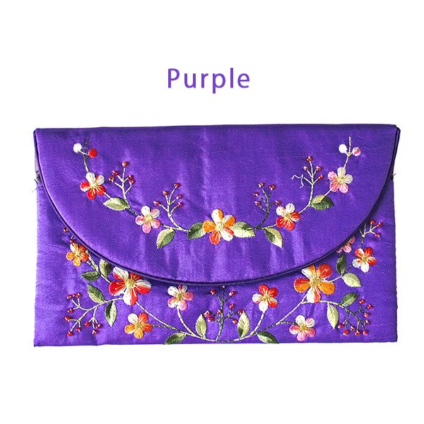 ベトナム 刺繍 シルクのお財布(お花B-2)【画像2】