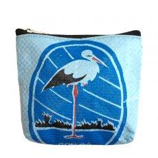 トリ (鳥) 雑貨 ベトナム 飼料袋 リメイク ポーチ(コウノトリ ブルー)