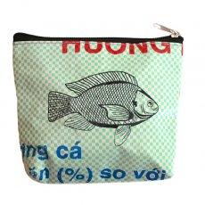 ベトナム 飼料袋 リメイク ポーチ(魚  グリーン)