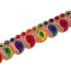インド チロリアンテープ ペイズリー 刺繍 レインボー(幅5.5cm/1m単位売り)