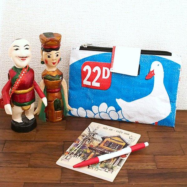 ベトナム 飼料袋 リメイク ポーチ(チャック2つ付き アヒル2)【画像6】