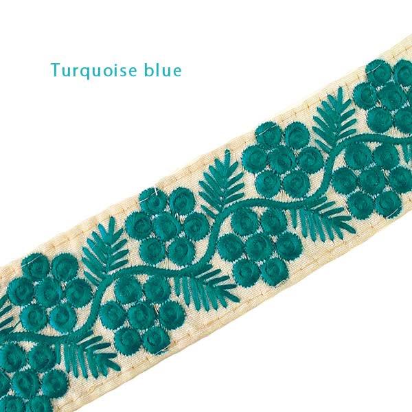 インド 花と草のチロリアンテープ グリーン(幅6cm/1m単位売り)【画像2】