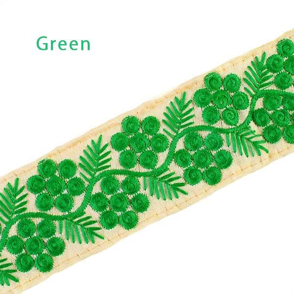 インド 花と草のチロリアンテープ グリーン(幅6cm/1m単位売り)【画像3】