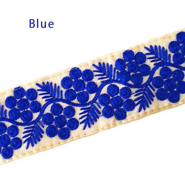 インド チロリアンテープ 花と草 刺繍 3色(幅6cm/1m単位売り)【画像4】