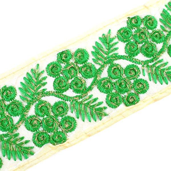 インド 花と草のチロリアンテープ グリーン(幅6cm/1m単位売り)【画像5】