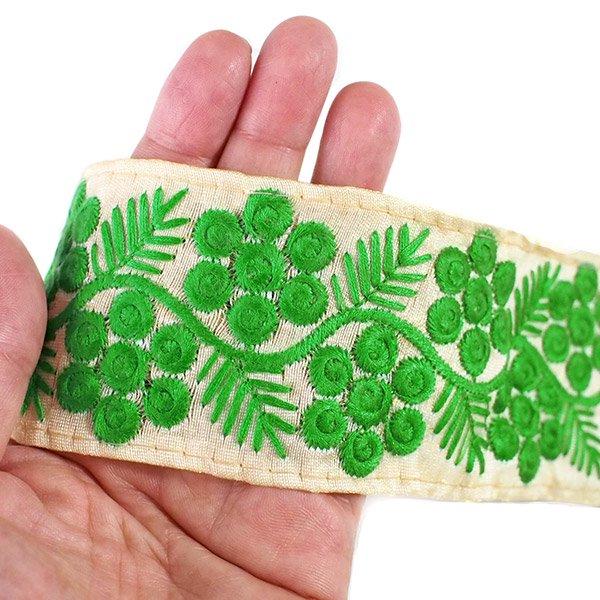 インド チロリアンテープ 花と草 刺繍 3色(幅6cm/1m単位売り)【画像6】
