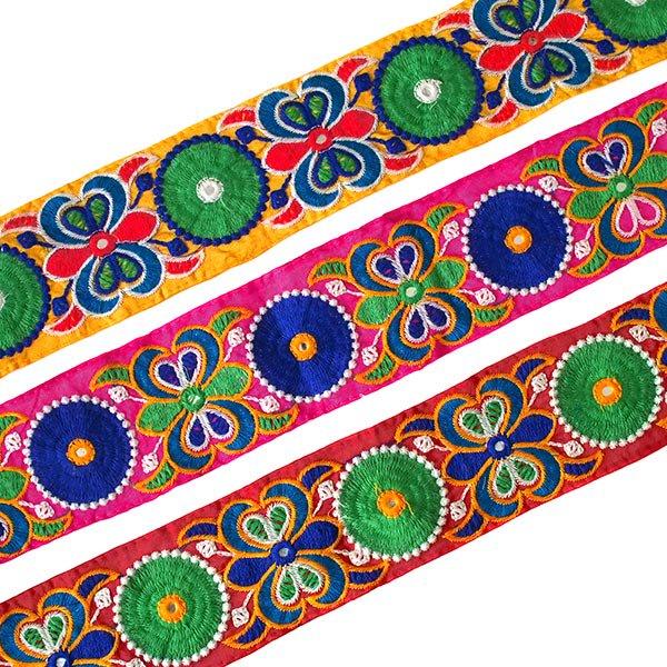 インド ミラーワークのチロリアンテープ  ハンドメイド素材 (ピンク 幅7cm/1m単位売り)